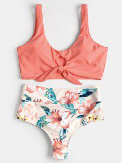 Knotted Floral Scrunch Butt Bikini Set - Watermelon Pink M