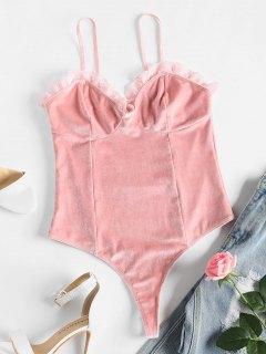 Lace Trim Velvet Bodysuit - Pig Pink M