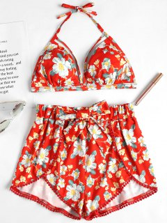 Vibrant Floral Halter Bra And Shorts - Grapefruit L