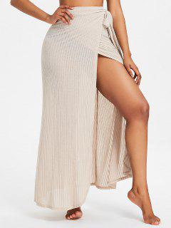 Ribbed Maxi Wrap Skirt - Blonde L