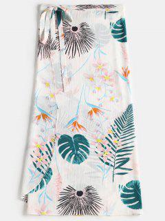Falda De Impresión De Hojas De Cintura Alta - Blanco