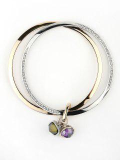 Rhinestone Faux Gem Layered Polished Bracelet - Multi
