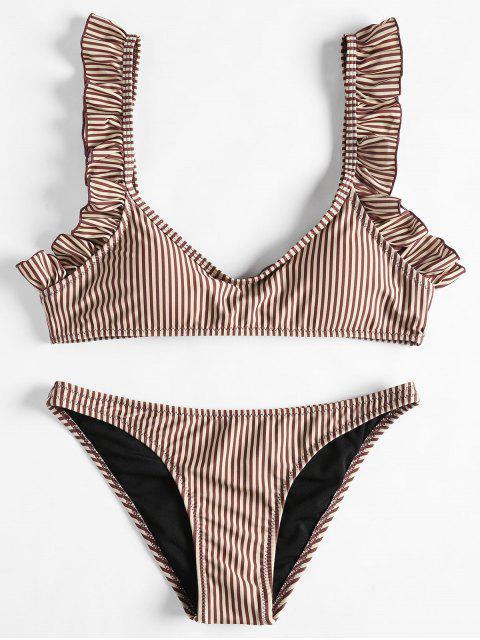 Conjunto de bikini de rayas dobladillo fruncido - Café S Mobile