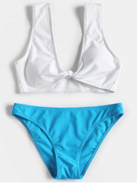 Traje de baño anudado de dos tonos - Lago Azul M Mobile