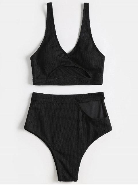 Plunge Bikini de corte alto - Negro S Mobile