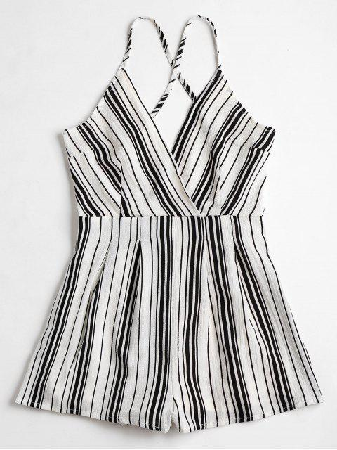 affordable Cami Surplice Striped Beach Romper - WHITE AND BLACK S Mobile