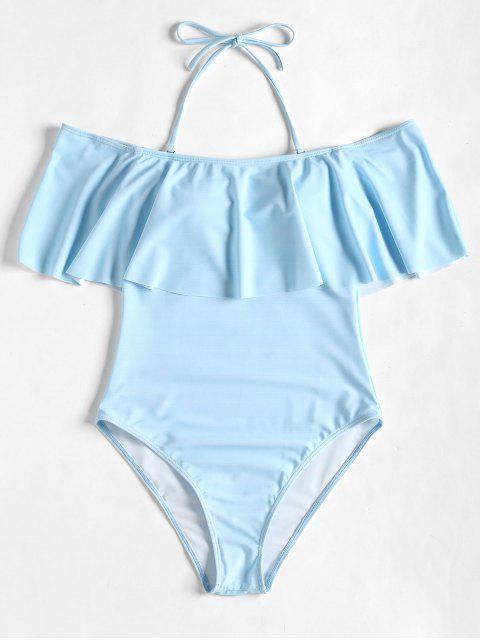 womens High Cut Off Shoulder Ruffles Swimwear - AZURE S Mobile