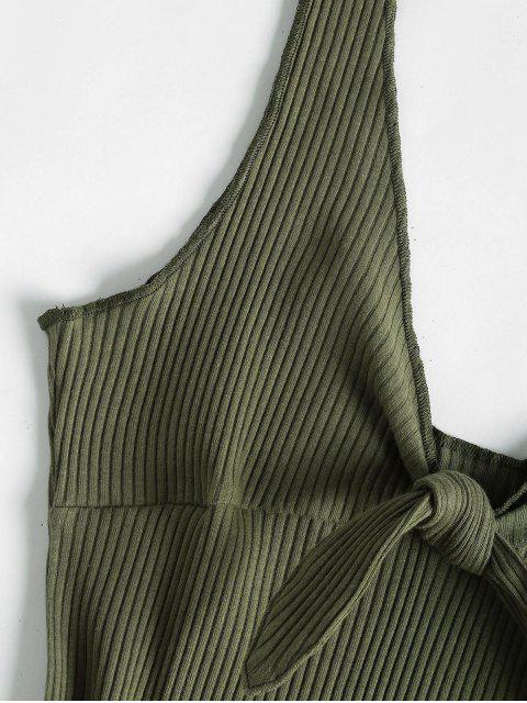 Mini Robe Côtelée Débardeur à Nœud - Vert Camouflage S Mobile