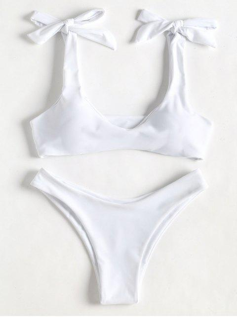 sale Scoop Tie Shoulder Padded Bathing Suit - WHITE S Mobile
