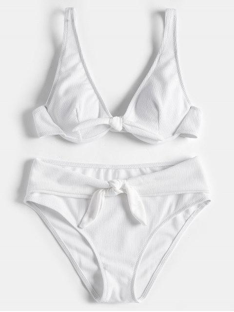Conjunto de bikini atado con aro con textura - Blanco M Mobile