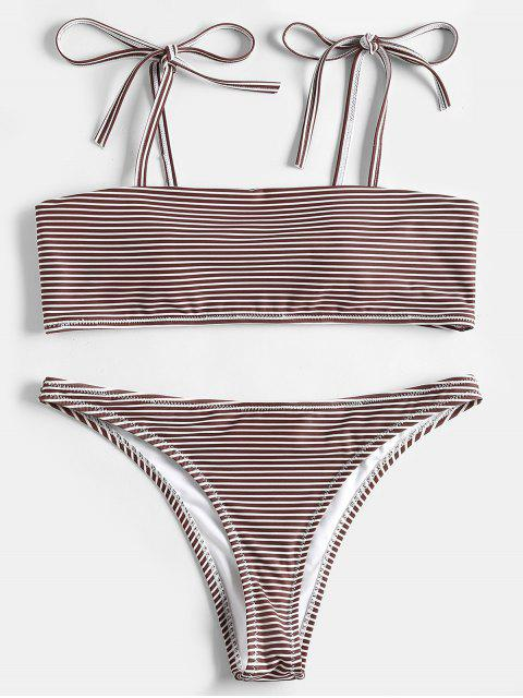 women's Stripe Shoulder Tie Bandeau Bikini Set - COFFEE L Mobile