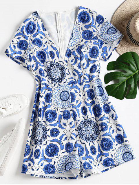 Mameluco de corte bajo estampado floral - Azul L Mobile