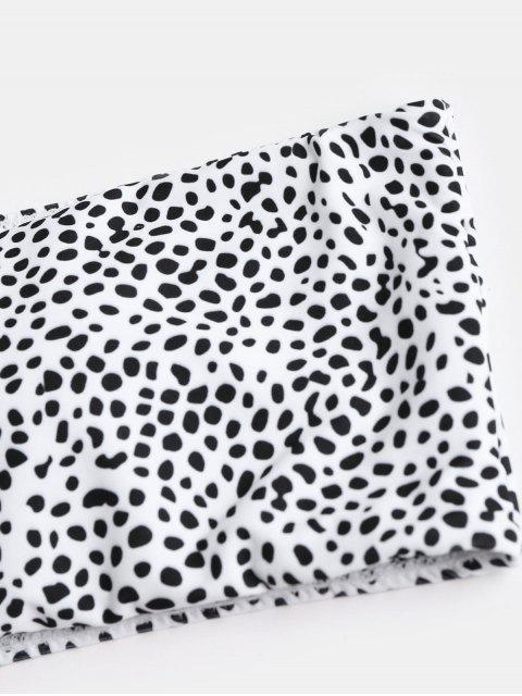 Conjunto de bikini palabra de honor de leopardo de corte alto - Blanco M Mobile