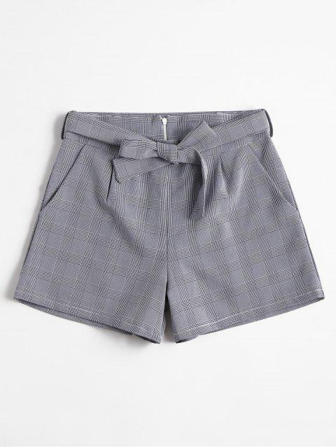 women Belted Plaid Shorts - MIDNIGHT BLUE L Mobile