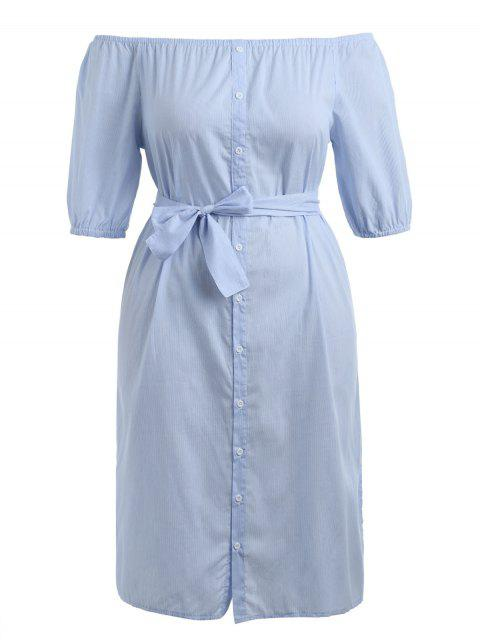 online Plus Size Striped Belted Dress - LIGHT BLUE 3XL Mobile