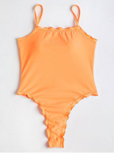 hot Lettuce High Cut One Piece Swimsuit - CANTALOUPE L Mobile