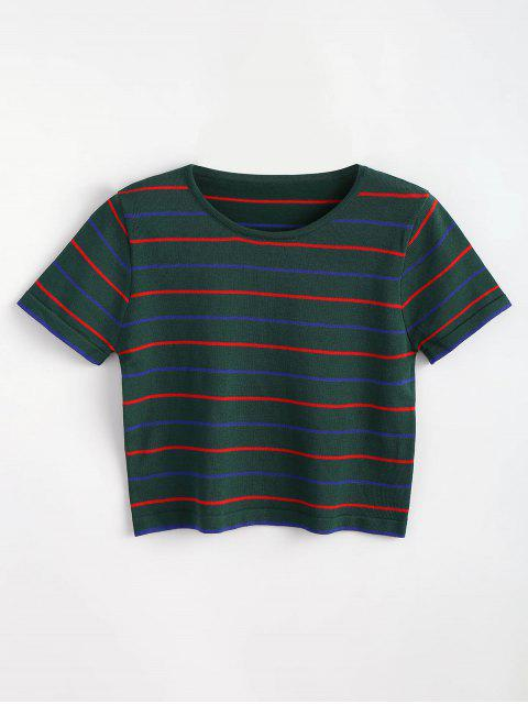 hot Striped Knitted Tee - MEDIUM SEA GREEN ONE SIZE Mobile