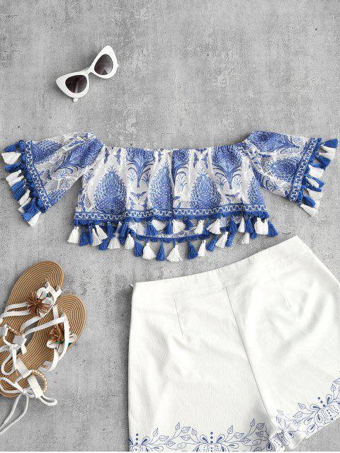 buy Off Shoulder Printed Tassels Blouse - BLUE L Mobile