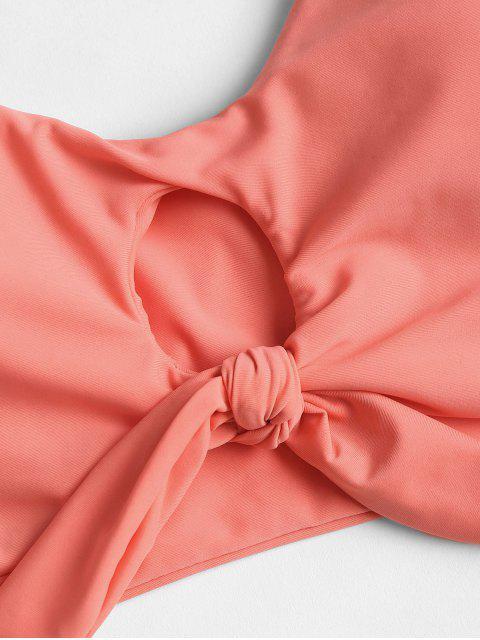 women's Knotted Floral Scrunch Butt Bikini Set - WATERMELON PINK L Mobile
