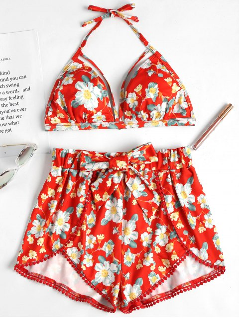 Sujetador y pantalón corto halter floral vibrante - Pomelo S Mobile
