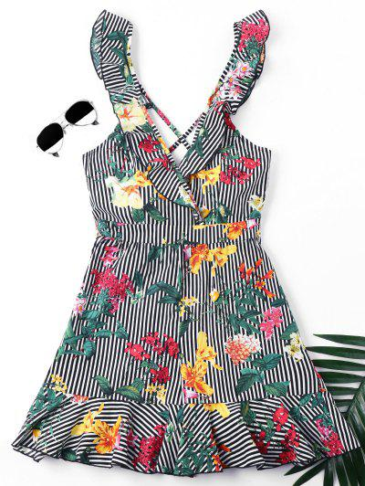Stripe Floral Print Criss-Cross Sleeveless Romper - M