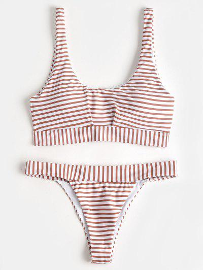 Scoop Padded Striped Bathing Suit - Stripe M