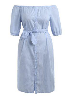 Plus Größes Streifen Gürtel Kleid