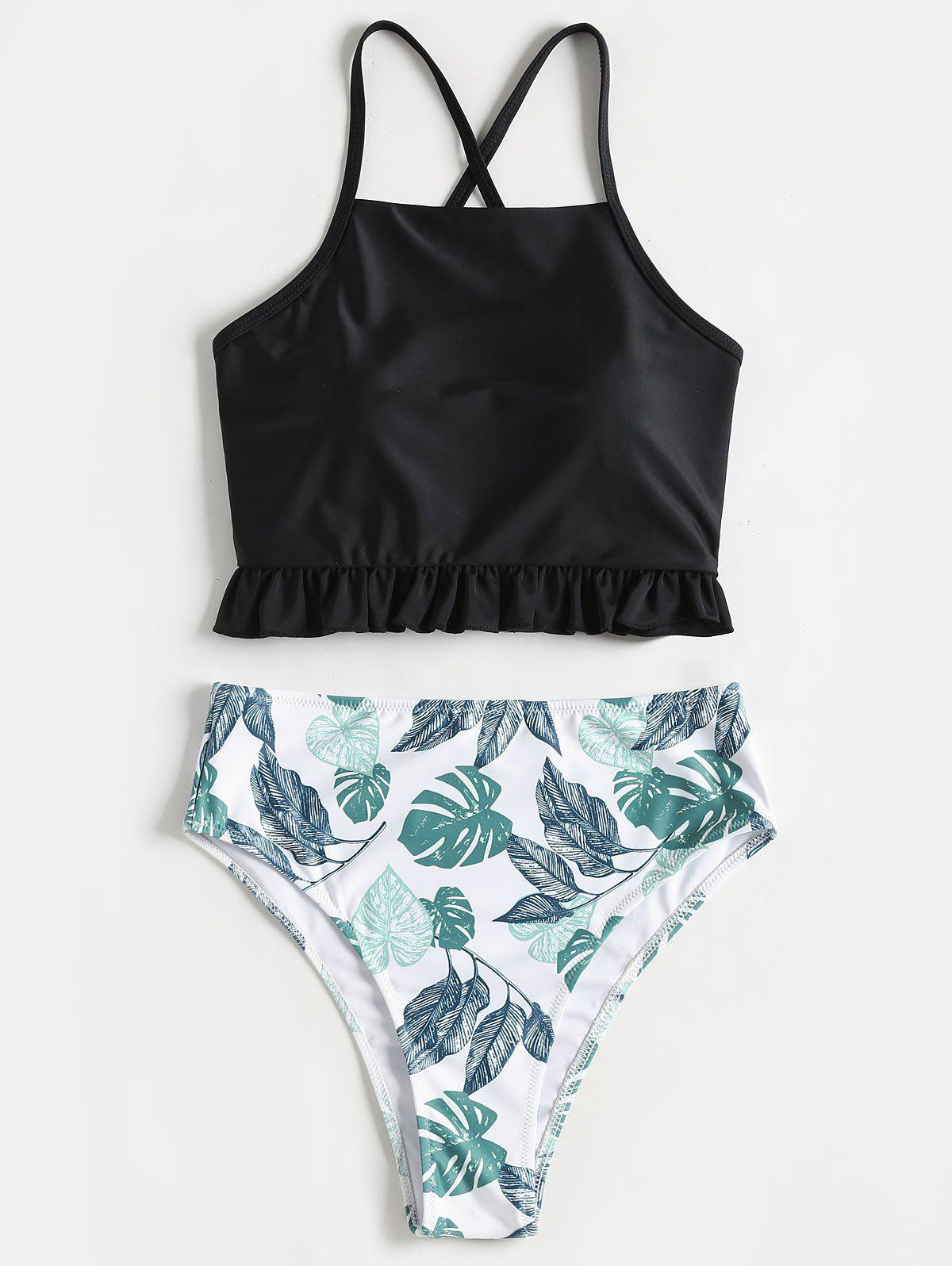Lace Up Palm Leaf High Cut Bikini Set 236660901