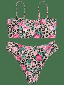Floral Bandeau Leopardo Xl Bikini Estampado Leopardo 81ZqUp