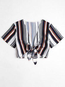 متساوية ومخططة النقاط مربوطة من الأعلى Cropped Striped Dots Tie Front Top - متعدد L