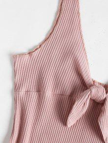 Mini Nudo Con Sin Arco Vestido Rosa Acanalado Mangas S qw4vfqR
