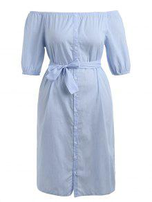 بالاضافة الى حجم ثوب مربوط مربوط - أزرق فاتح 5xl