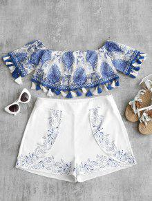 Blusa Con Borlas Estampadas En Los Hombros - Azul S
