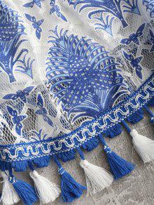 En S Los Blusa Borlas Hombros Estampadas Azul Con AHc1xzT