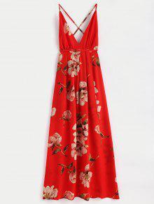 فستان ماكسي طباعة الأزهار انقسام - أحمر L