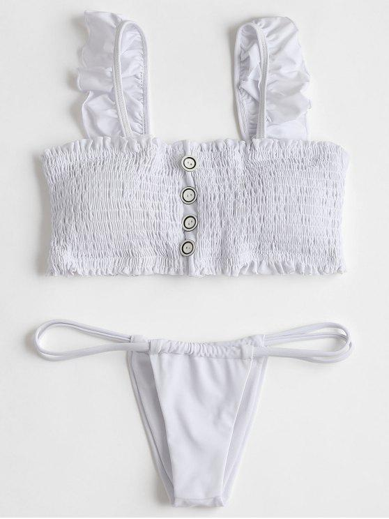 781a6e51a27 24% OFF] 2019 Ruffles Smocked Bikini Top With Thong Bottoms In WHITE ...