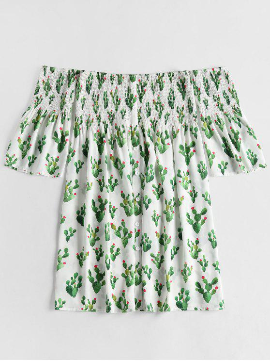 فستان طباعة بلا اكتاف - أبيض S