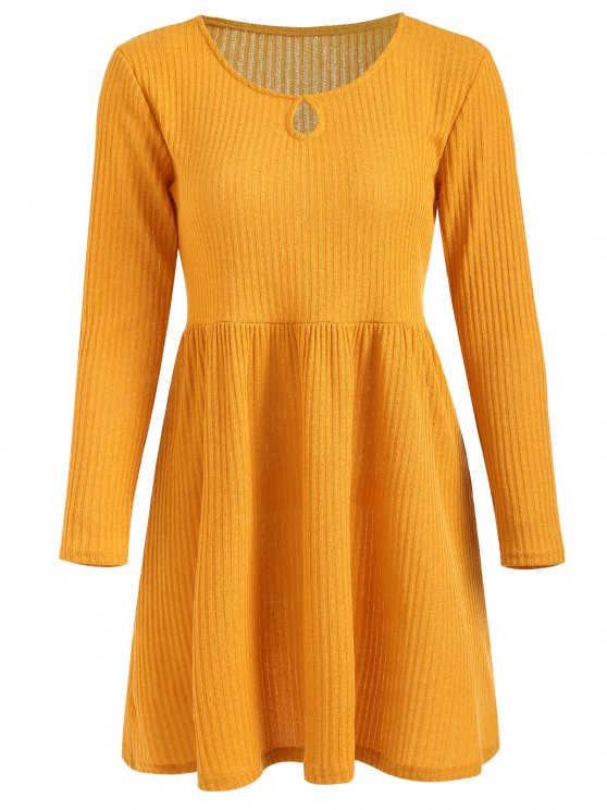 women Rib Knit Sleeved Fit and Flare Dress - RUBBER DUCKY YELLOW L