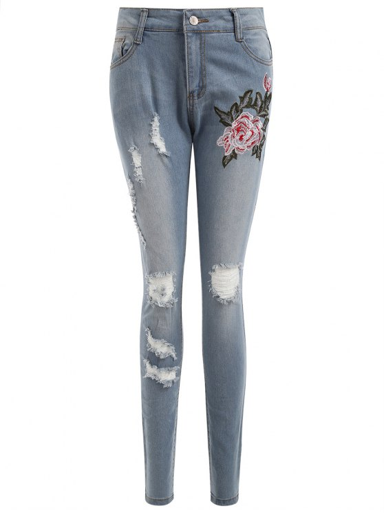 women's Embroidered Authentic Denim Ripped Skinny Jeans - LIGHT BLUE M