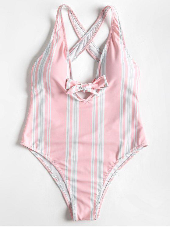 ارتفاع قطع بووتيد مخطط واحد قطعة ملابس السباحة - وردي فاتح L