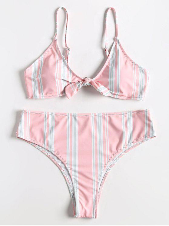 Ensemble Bikini Rayé Grande Taille à Taille Haute - Rose Léger  2X
