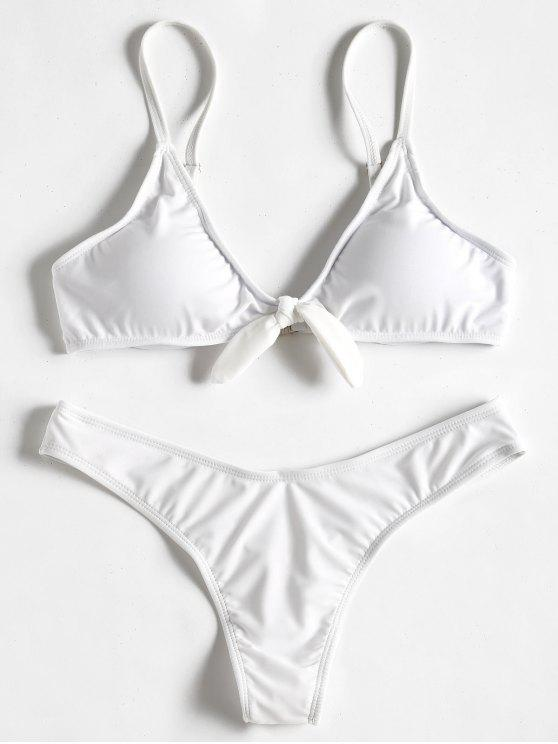 unique Knot Thong Bikini Set - WHITE S