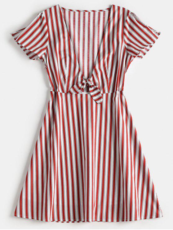 trendy Striped Plunge A Line Dress - CHERRY RED S