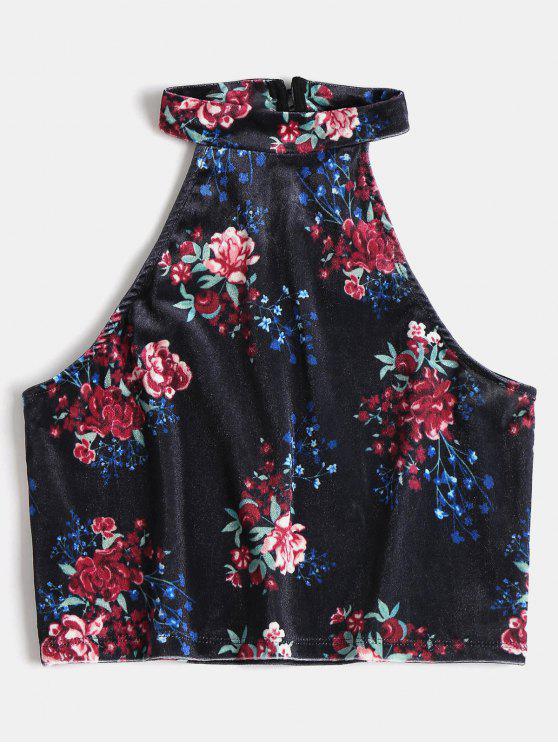 Crop Top en Velours à Imprimé Floral - Bleu Foncé Toile de Jean S