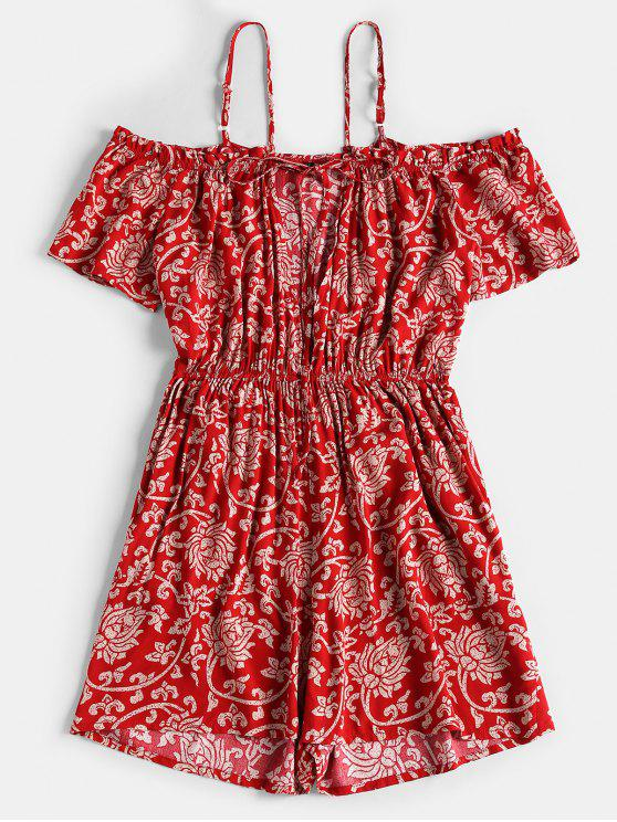 sale Flower Print Cut Out Romper - RED S