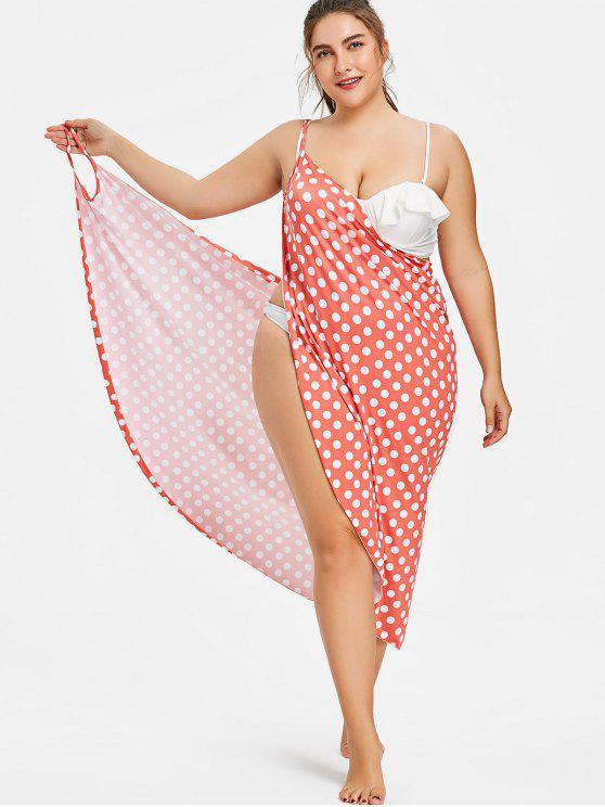 unique Vintage Plus Size Long Wrap Cover-up Dress - FIRE ENGINE RED XL