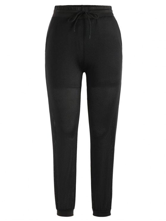new Drawstring Mesh Jogger Pants - BLACK L
