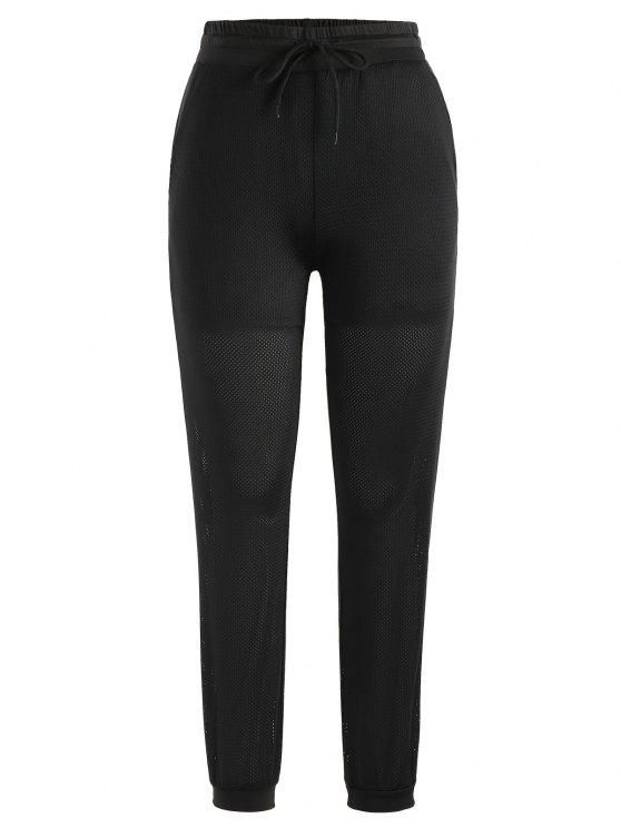 hot Drawstring Mesh Jogger Pants - BLACK M