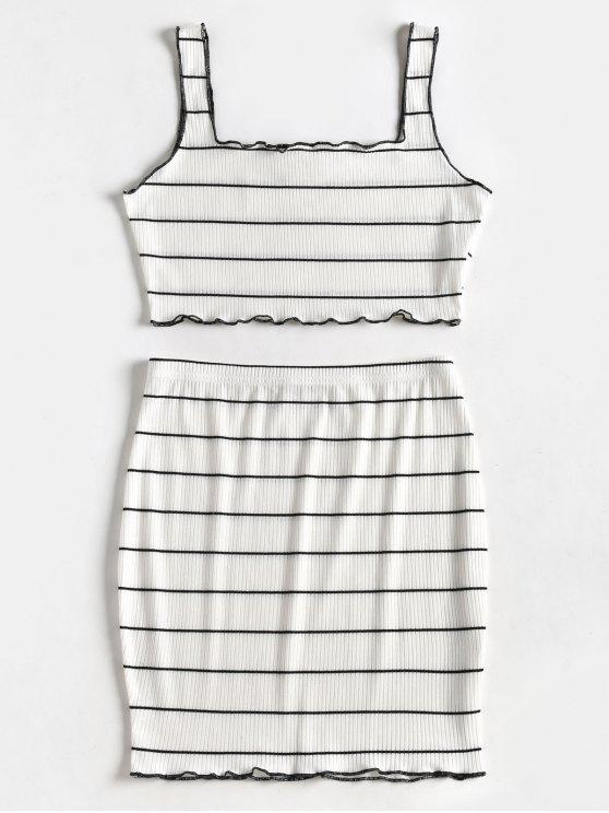 Striped Crop Top y traje de falda - Blanco L
