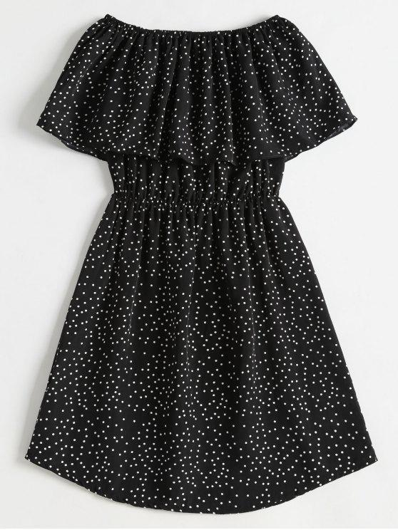 womens Polka Dot Off The Shoulder Overlay Dress - BLACK XL